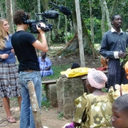 Jake films at the traditional healers training